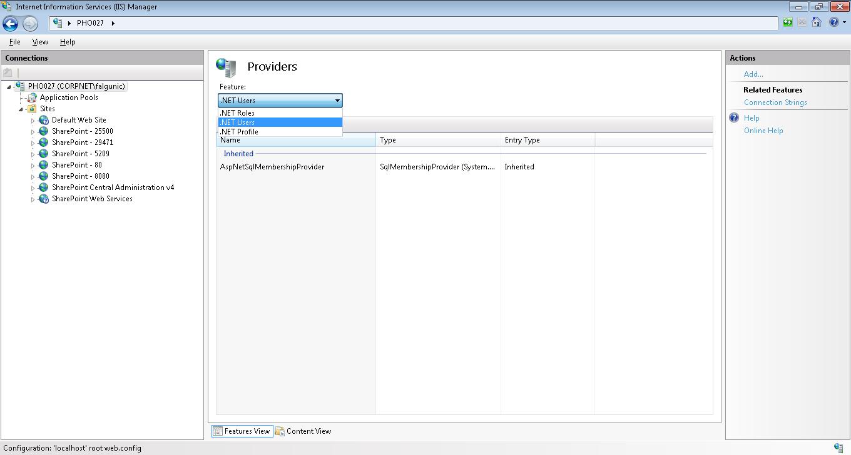 Locate .NET users settings in IIS