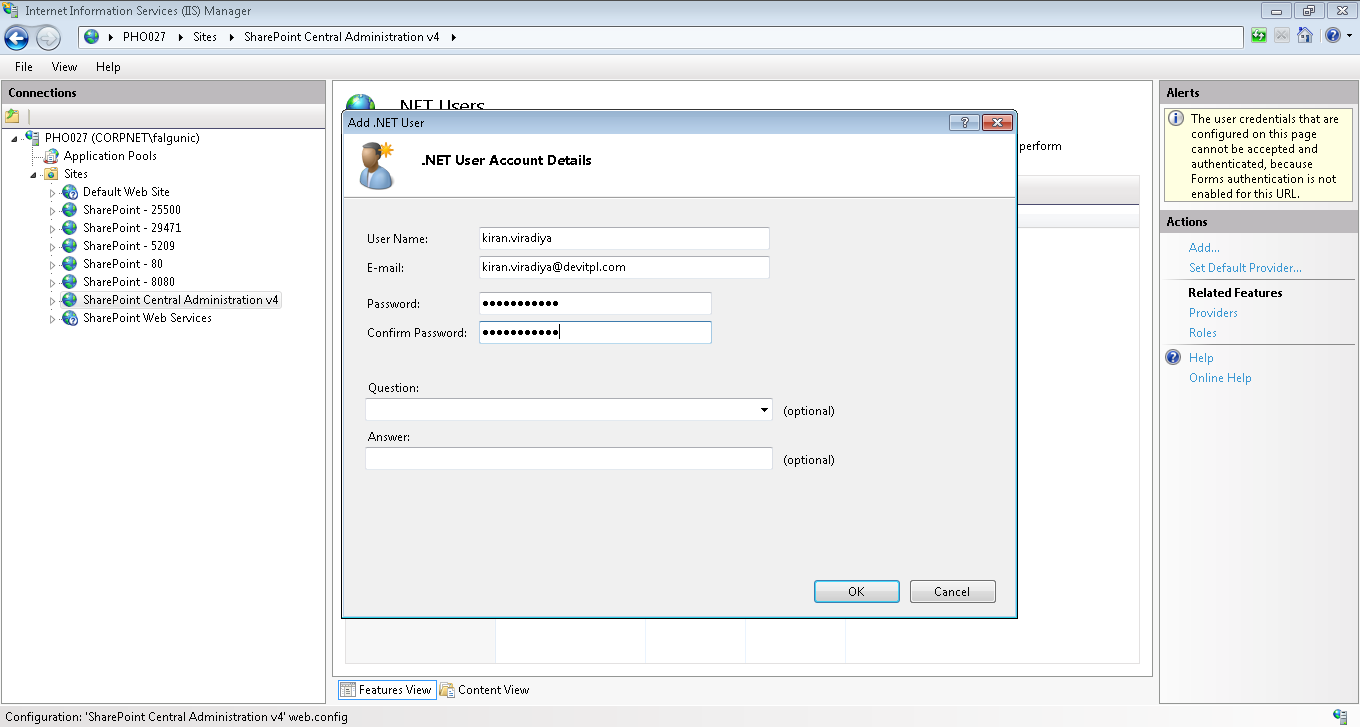 Create new FBA user from IIS