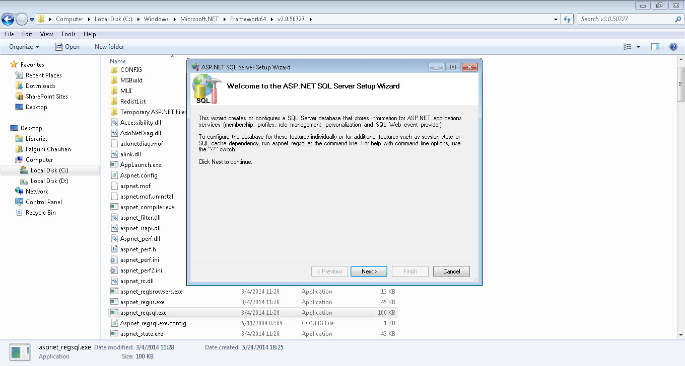 First screen of ASP.NET SQL Server Setup Wizard