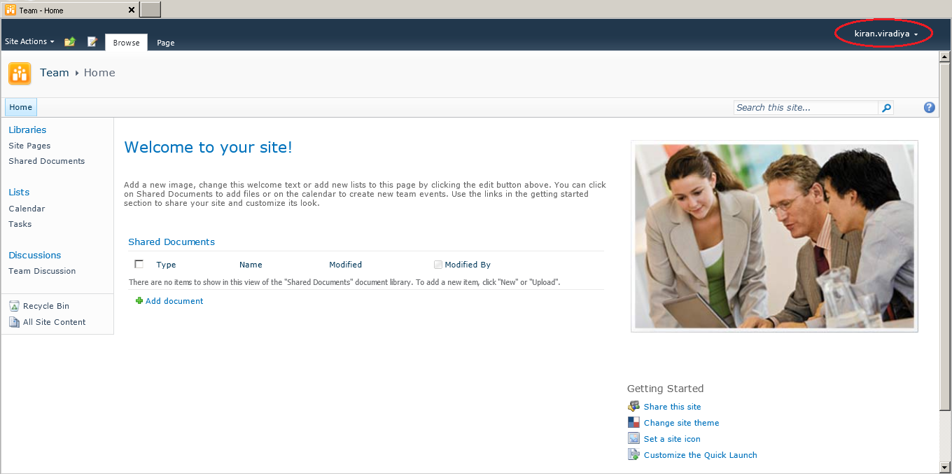 Home Page of FBA enabled SharePoint website
