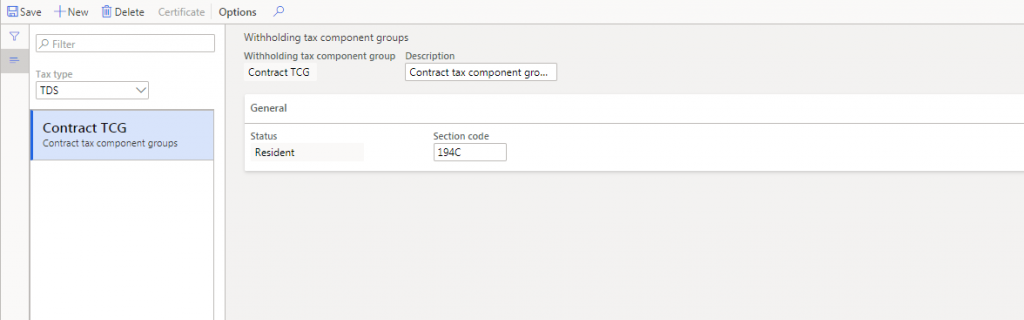 Create Withholding tax component group