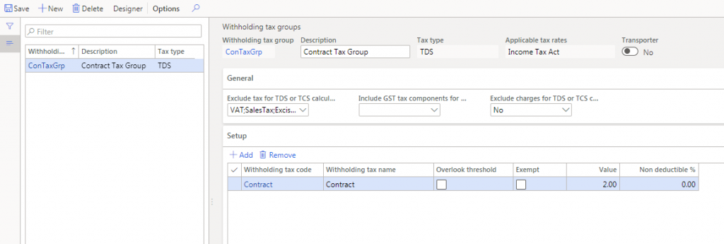 Create Withholding tax group