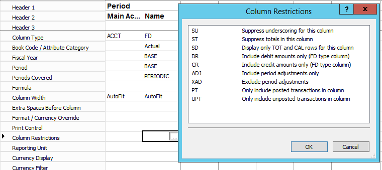 Management Reporting - Column Definition