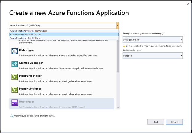 new azure functions
